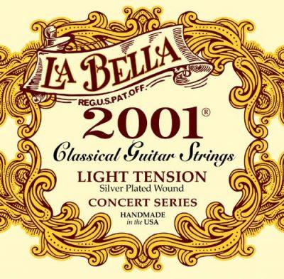 Set de cuerdas para guitarra clásica, marca la Bella 2001 Light Tension Guitarra Clásica